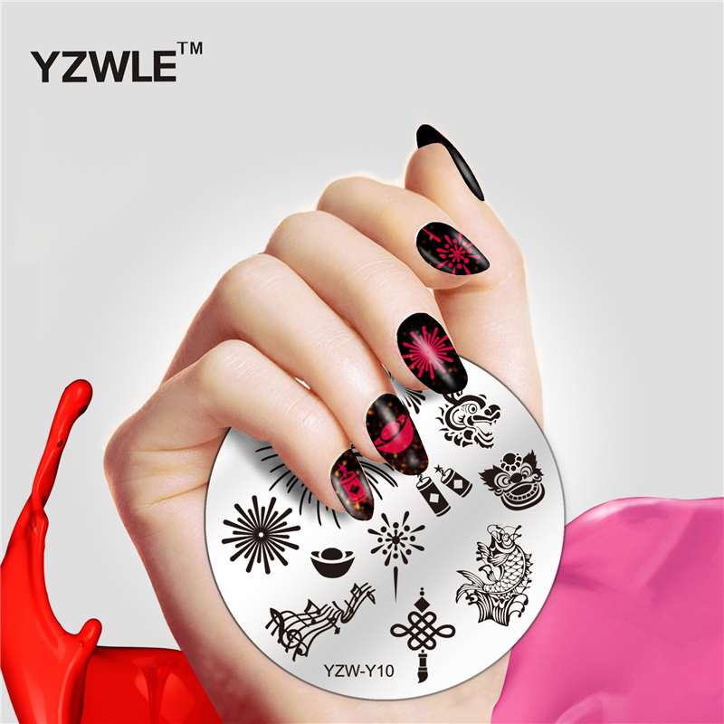 1 Pc YZWLE Round 5.6cm Nail Art Stamp Template Lace Flower Leopard Design Cute Image Nail Stamping Plate