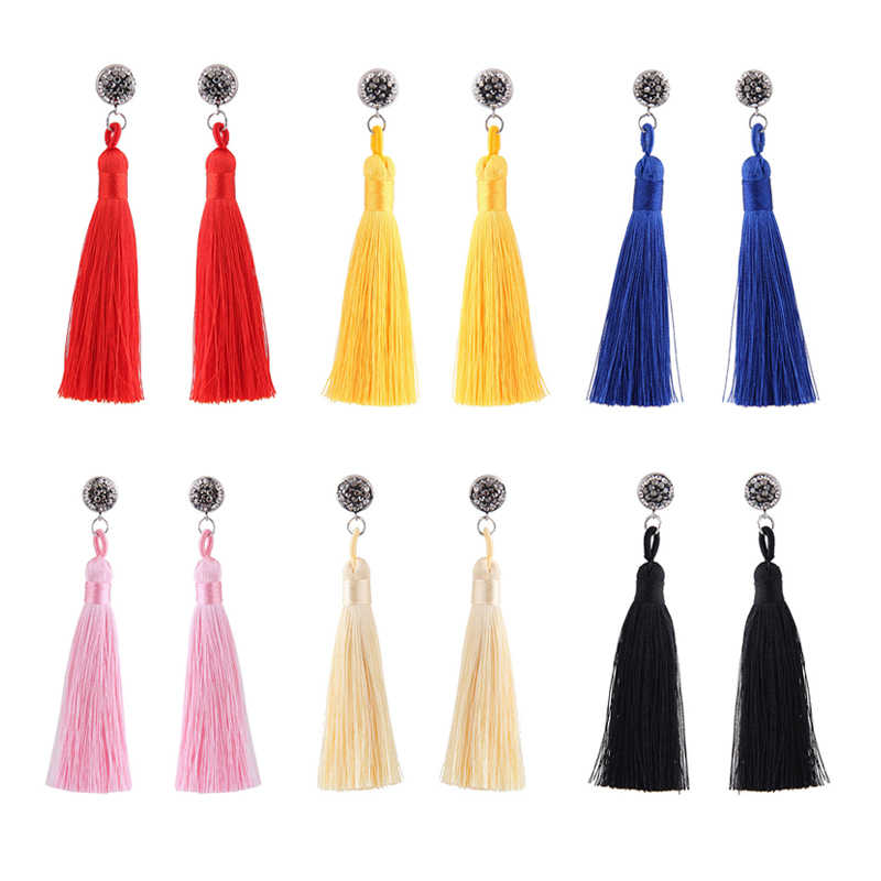 Ethnic Handmade yellow Tassel Earrings Trendy Bohemian Black Red Vintage Crystal Long Tassel stud Earrings For Women Jewelry
