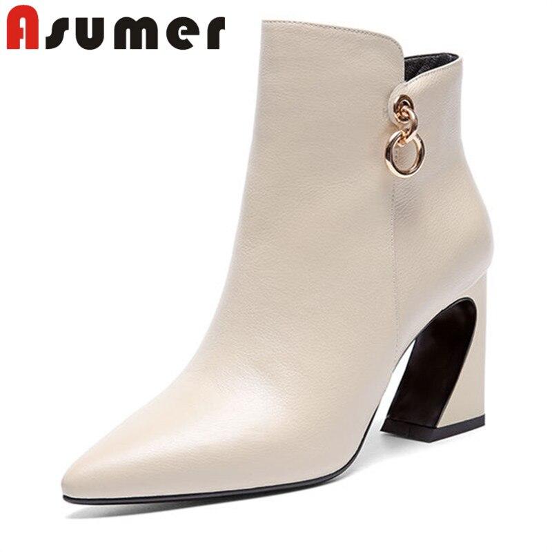 ASUMER offre spéciale 2018 simple élégant en cuir véritable bottes pour les femmes de haute qualité talons hauts bottes bout pointu dame bottines