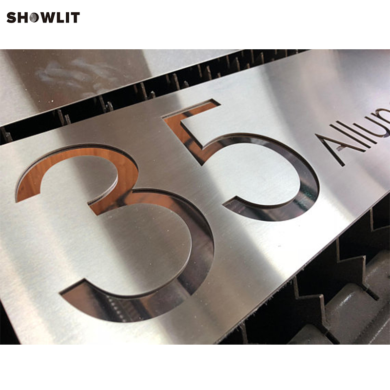 Aluminum Address Plaques Laser Cut Signs modern brushed aluminum install address signs