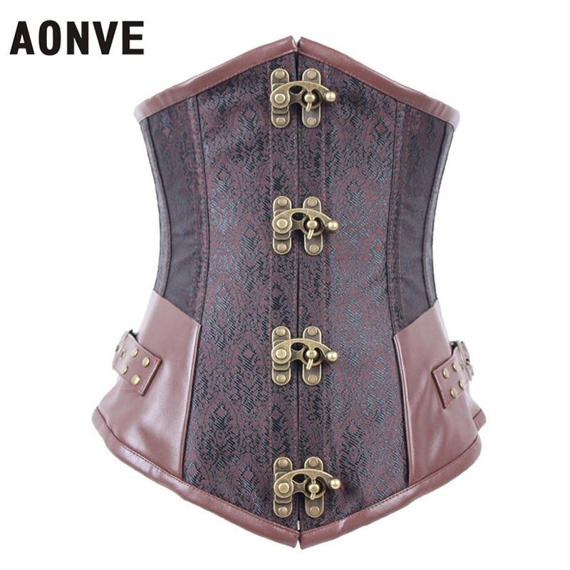 Aonve Steampunk Corset Lederen Sexy Gothic Vest Taille Trainer Jacquard Modellering Riem Body Shaper Staal Uitgebeende Vintage Korset