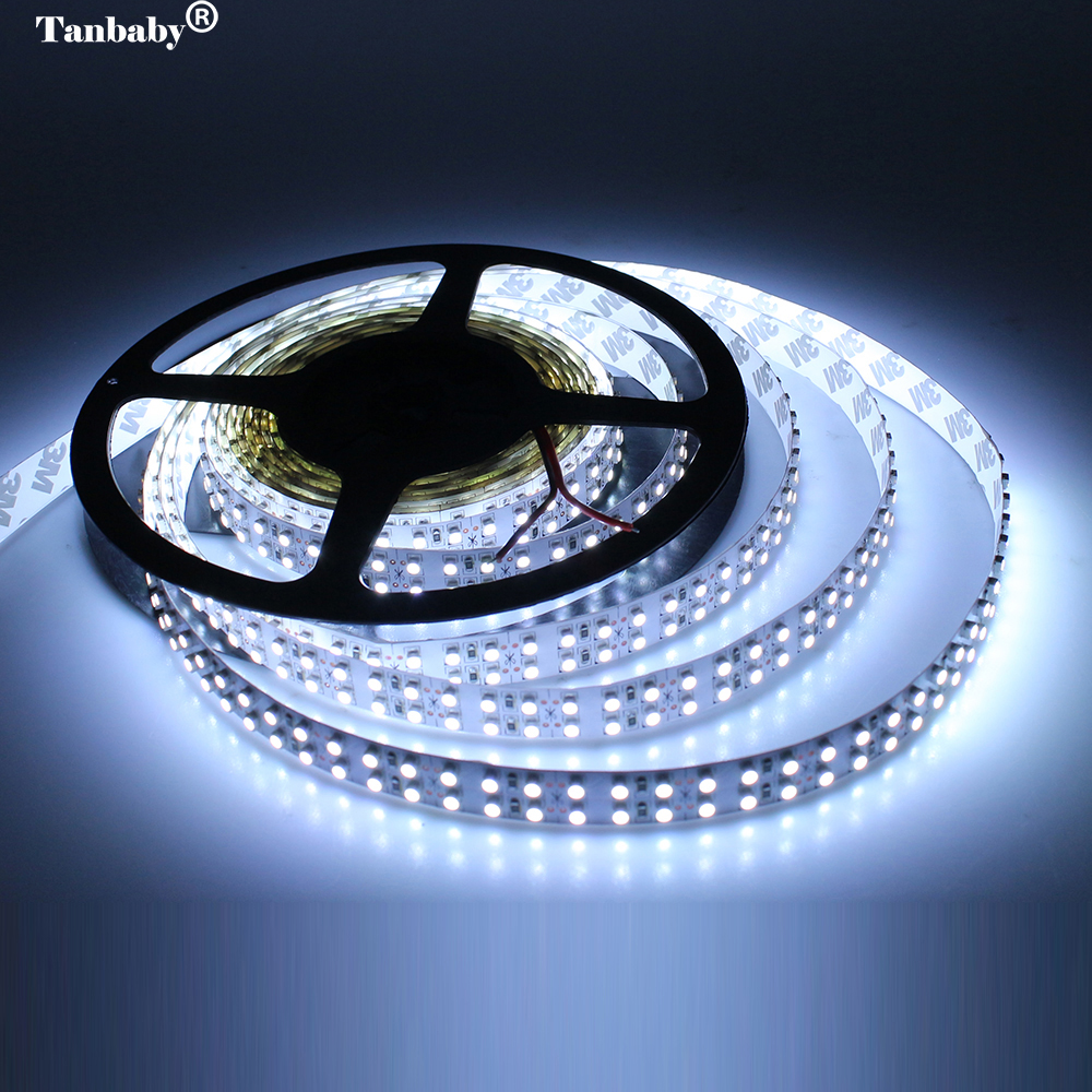 Tanbaby 240 led/M 3528 Led strip Double Row  5M 1200led flexible ribbon DC12V warm/white non-waterproof home indoor light auxmart triple row led chips 12 led
