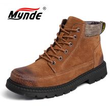 Mynde Men Boots Winter With Fur 2018 Warm Snow Boots Men Winter Boots Work Shoes Men Footwear Fashion Rubber Ankle Shoes 38-47 недорого