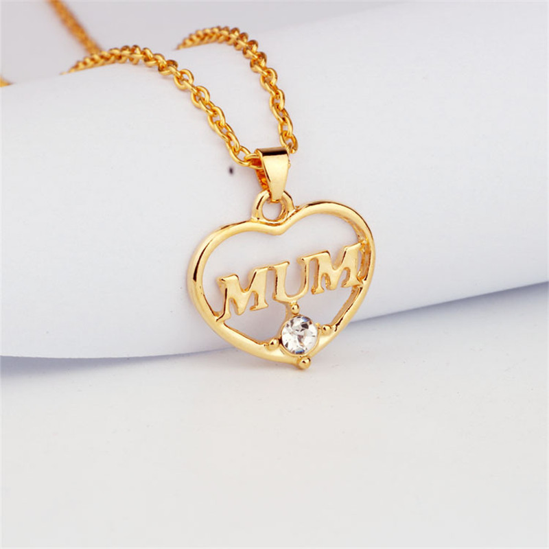 "ZN 2019 Gold Color Love ""Mum"" Crystal Heart Pendant Necklace Mother's Day Gifts for mother Sweater Chain Necklaces Best Gifts 36"