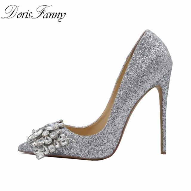 Doris Fanny/Новое поступление; серебристая обувь; пикантные женские туфли на высоком каблуке; женская свадебная обувь на высоком каблуке; большие размеры