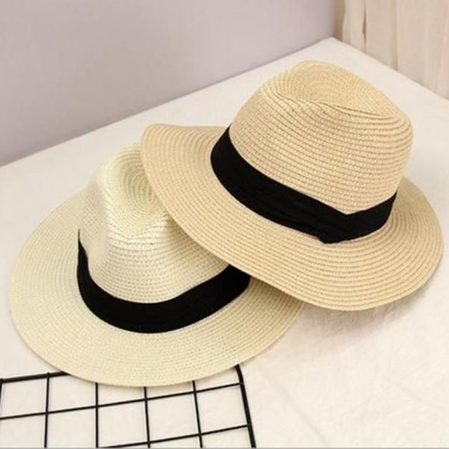 1da8c98e Trendy Women Ribbon Decor Summer Beach Topee Straw Sun Cap Holiday Panama  Hat Round Hat
