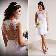 Женское свадебное платье с юбкой годе кружевное короткое до