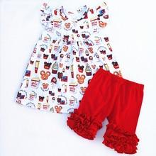 Новинка 2018 г., платье с принтом мороженого Микки Мауса и брюки с рюшами, оптовая продажа, Детский бутик одежды из молочного шелка, комплект красивой g