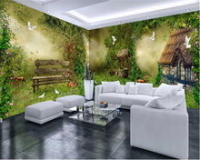 beibehang Custom size wallpaper fantasy forest hut flower and bird whole house background wall papers home decor painting behang