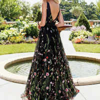 女性マキシメッシュドレス刺繍 V ネック優雅な女性ノースリーブヴィンテージ女性背中レトロロングブラックチュールローブチュニック