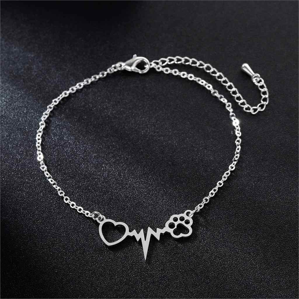 QIMING Heartbeat Dog Cat Paw Bracelets Women Stainless Steel Bangles Gifts For Nurse Doctor Jewelry Friendship Bracelet