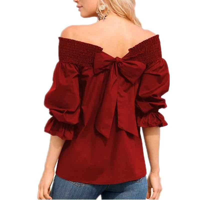 Женские блузки, рубашки, элегантные бандажные Блузы с галстуком-бабочкой, летняя рубашка с вырезом, женские топы WS8096X
