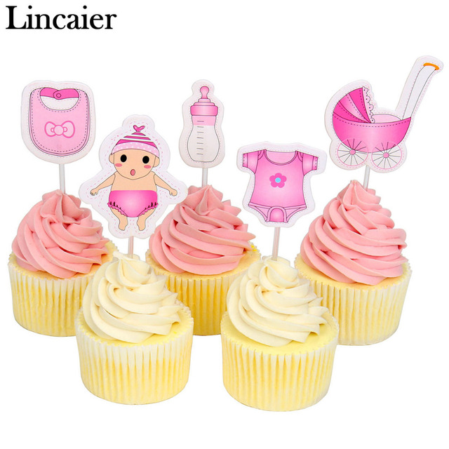 lincaier 20 pieces baby shower cupcake toppers babyshower boy girl christening kids birthday party favors decorations - Decorating Baby Shower Cupcakes
