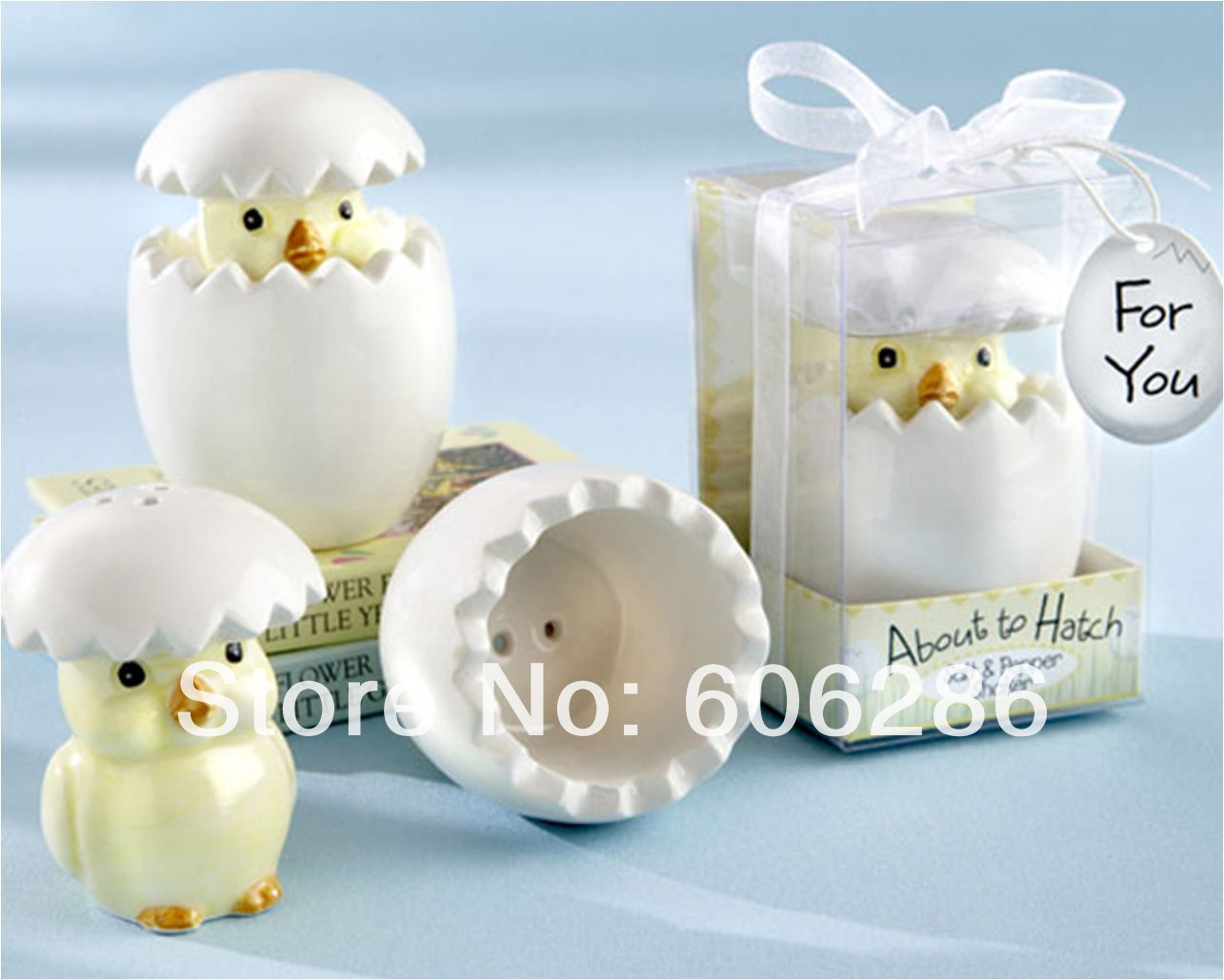 High Quality 200sets/lot Event Party Supplies About To Hatch Chick Ceramic Salt Pepper  Shakers Baby Shower