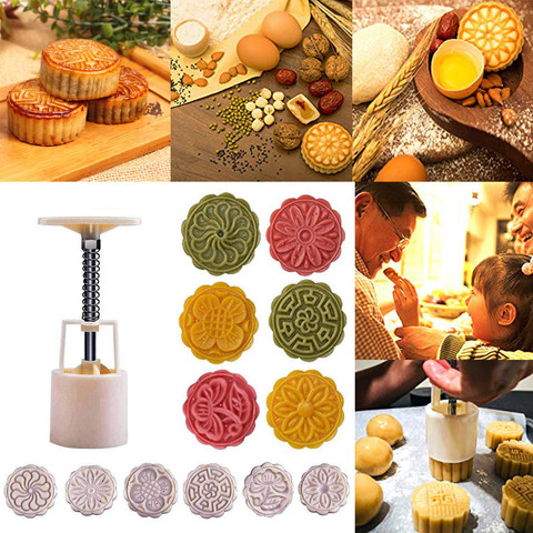 Dropshipping Mooncake Mold Flower Mid-autumn Festival Hand Press Moon Cake Cutter Molds Set Karachi