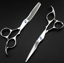 professional 6 inch Japan 440C steel 9cr13 cutting barber thinning hair scissors set hairdressing scissors shears Free shipping