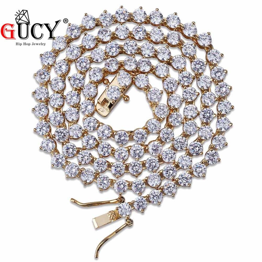GUCY Hip Hop 3 broches Tennis chaîne collier tout glacé 1 rangée 4mm Micro Pave CZ pierres colliers charme bijoux pour hommes femmes