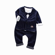 Niños chaqueta de corbata Formal de algodón Caballero ropa Casual primavera otoño bebé niña chaqueta camiseta pantalones 3 unids/set conjunto infantil