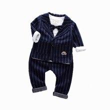 Çocuk kravat Blazer resmi pamuk beyefendi rahat giyim bahar sonbahar bebek erkek kız ceket T Shirt pantolon 3 adet/takım bebek seti