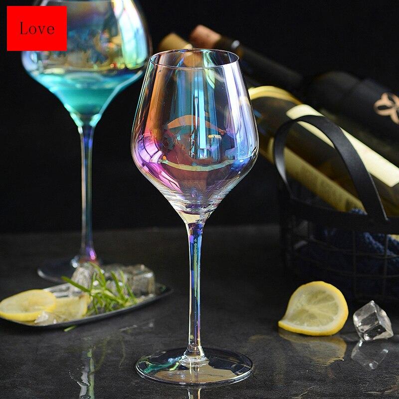 Coupe de vin en verre de vin rouge cristal sans plomb créatif européen de haute qualité coupe arc-en-ciel sept couleurs gobelet famille Drinkware
