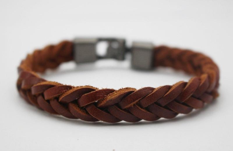Leather Bracelets Bangles Men Women Braided Wristband Cuff Charm Bracelet Pulseras