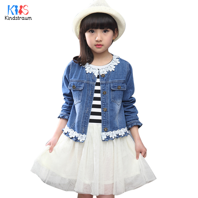 Kindstraum 2017 New Girls Solid Denim Jacket Fashion Children Pocket Coat Spring & Autumn Frazzle Outerwear for Kids,RC1170
