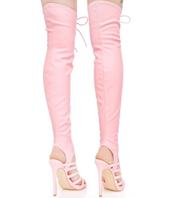 Slingback Pink Genou Out Bottes Stretch Femmes Rose Hauts À Printemps Cuir Lacets En Talons Le Cut Sur Femelle Mode 2018 Bretelles 6x8qHRp