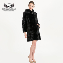 High-Grade Mink Fur,Women Real Mink Fur Coat,With Hood Thick Warm Coat,Russian Winter Outwear,Natural Color Fur Coats,BF-C0459