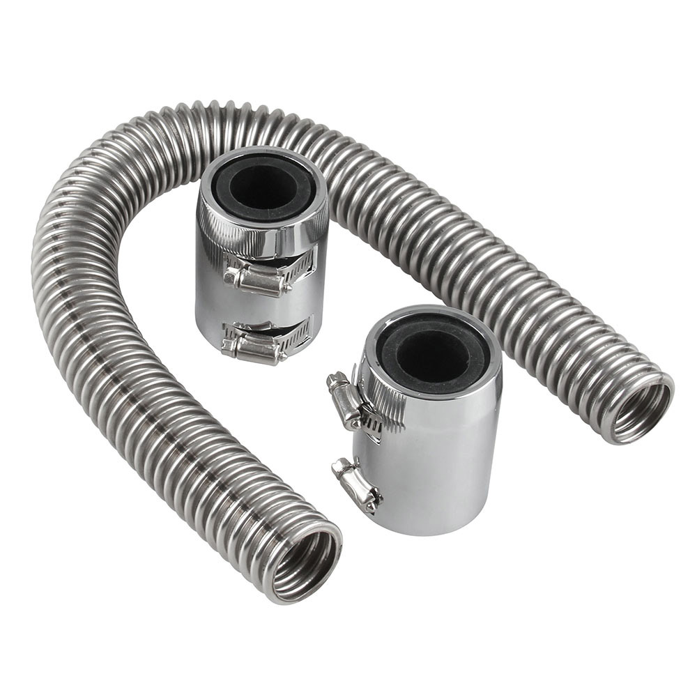 24 Flexible Upper Lower Radiator Hose Kit & Stainless Steel W/ Chrome Caps V8 Car Acessories Hoses & Clamps