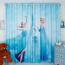 Индивидуальный заказ 2x люверсами драпировки простыня Шторы малыш детская комната витрин 200×260 см мультфильм принцесса синий