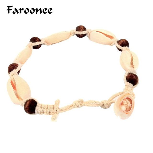 32408d3d69b630 Bohemian Shell Ankle Bracelet Women Foot Jewelry Summer Beach Anklets Leg  Bracelet Accessory Vintage Rope Wood