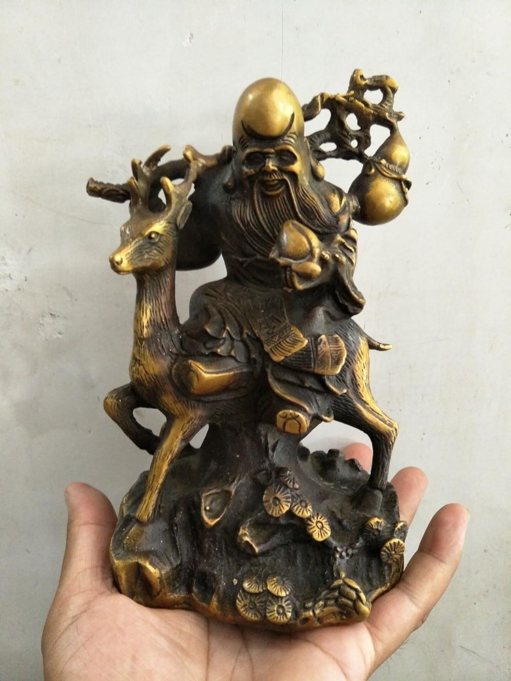 Zeldzame Qing dynastie koperen Oostelijke Kerstman & Herten Standbeeld, GRATIS VERZENDING