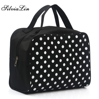 Toiletry-Kits Cosmetic-Bag Necessaire Travel Women Portable New Dot Square Trousse-De-Maquillage