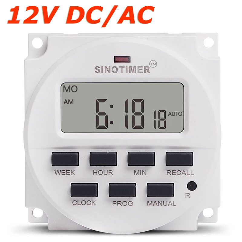 BIG DISPLAY 1.598 inch LCD Digital Timer 12V DC 7 Days Programmable Time Switch with UL listed Relay inside
