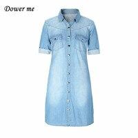 מקרית ינס שמלת נשים שמלות גבירותיי אלגנטית סלים ג 'ינס רך נשי חולצת ג' ינס ארוך YN269