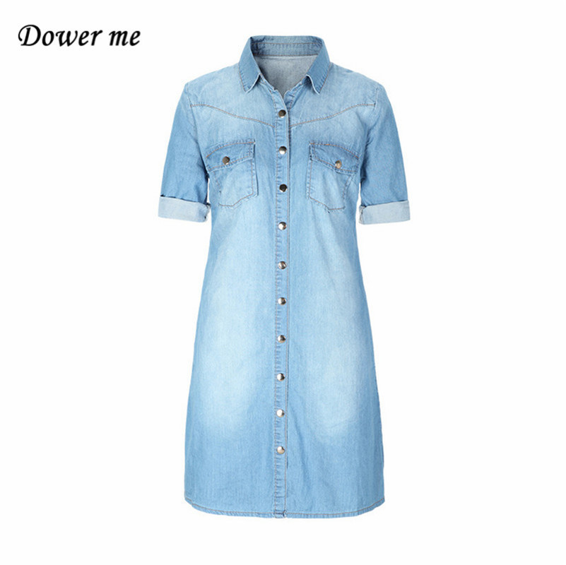 Women Casual Denim Dress Female Soft Jeans Frocks Ladies Elegant Slim Long Denims Shirt YN269