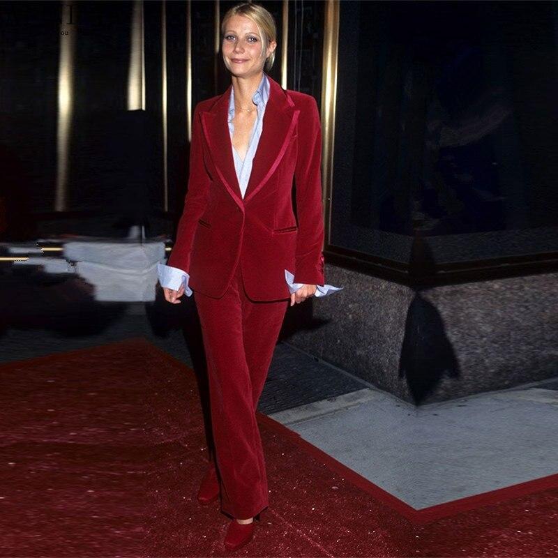 Wine Red Women Business Suits Velvet Formal Work Wear 2 Piece Sets Blazers Office Uniform Styles Ladies Elegant Pantsuit Custom