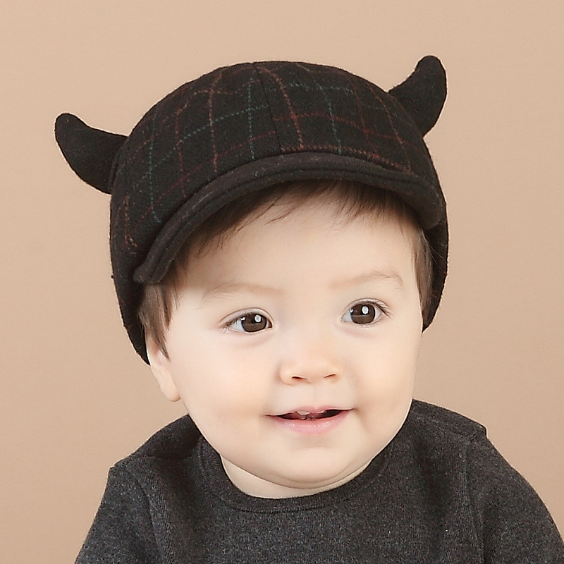 19e438b5ab6 2016 New Spring Autumn Baby Boy Plaid Hat Ox Horns Hats Flat Cap Toddler  Infant Caps for Boys Children Photo Props Accessories-in Hats   Caps from  Mother ...