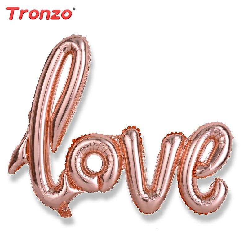 Tronzo Wedding Decoration Ligatures Love Foil Balloons 40inch Big Rose Gold Balloons Bridal Shower Bachelorette Party Supplies