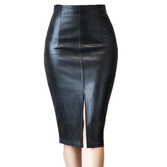 Feliavert Faldas Otoño del Resorte 2017 de Cuero de LA PU Sexy Dividida Falda de Cintura Alta Mujeres Elegante Longitud de La Rodilla Falda Lápiz Negro S ~ 4XL