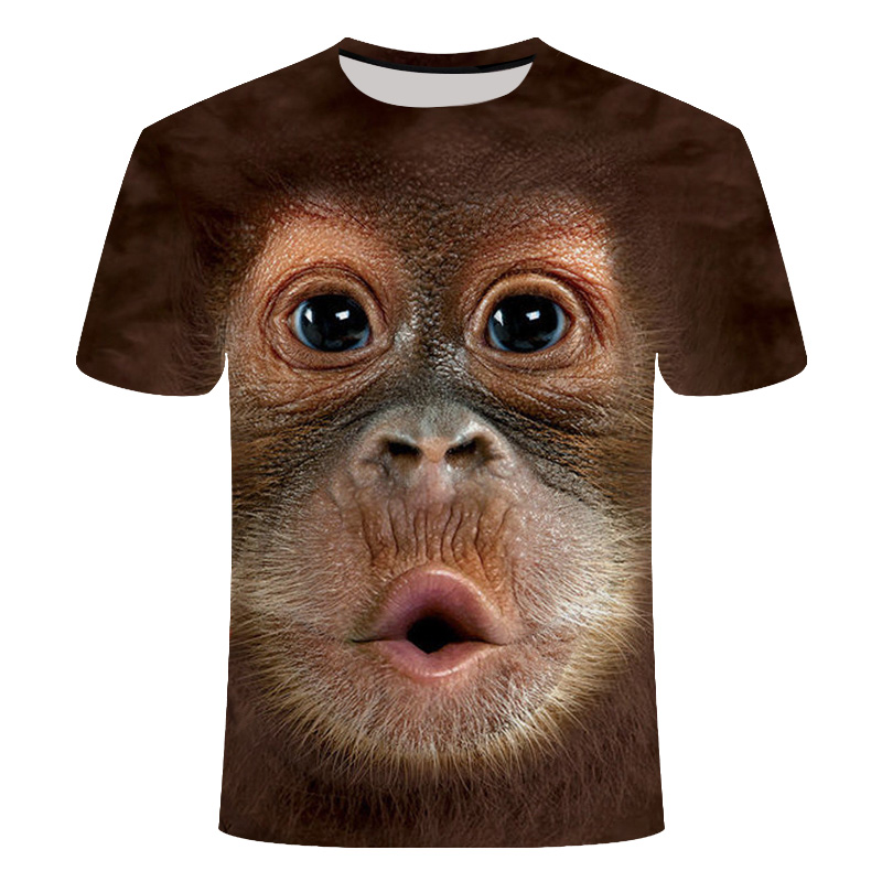 Monkey Tshirt Short-Sleeve Casual Tops Animal 3d-Printed Funny-Design Male Tees