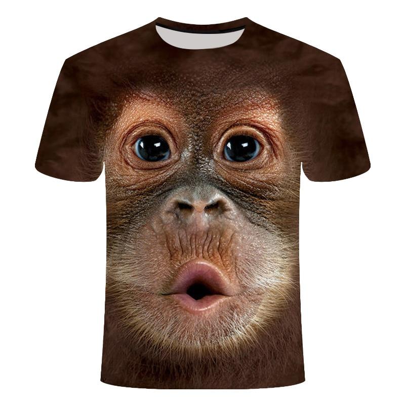 2019 Dos Homens T-shirt 3D Impresso Animal Macaco tshirt Manga Curta Design Engraçado Halloween t camisa Casual Tops Tees Masculino camisa 6xl