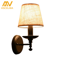 Nordic Style Indoor Wall Sconces Lighting Villa Cloth Art 1 Lamp Led Wall Light Contracted Decoration