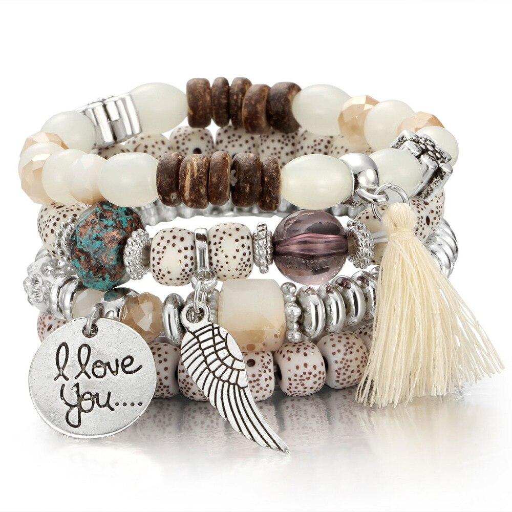Pulseras de cuentas de cristal para las mujeres Vintage pulsera de joyas de piedra Natural encantos pulsera regalo pulseira femenina