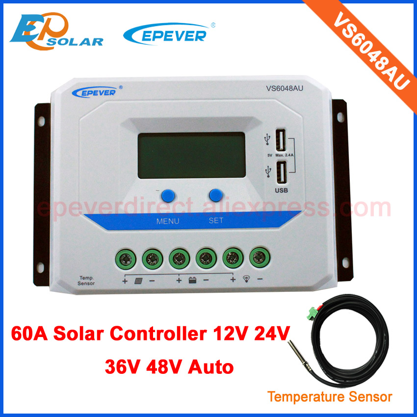 VS6048AU 12V 24V 36v 48v auto work 60A 60amp PWM Solar Regulator Charge Controller with temperature sensor in home use charging regulator pwm with mt50 remote meter ls3024b 30a 30amp 12v 24v auto work home mini system use