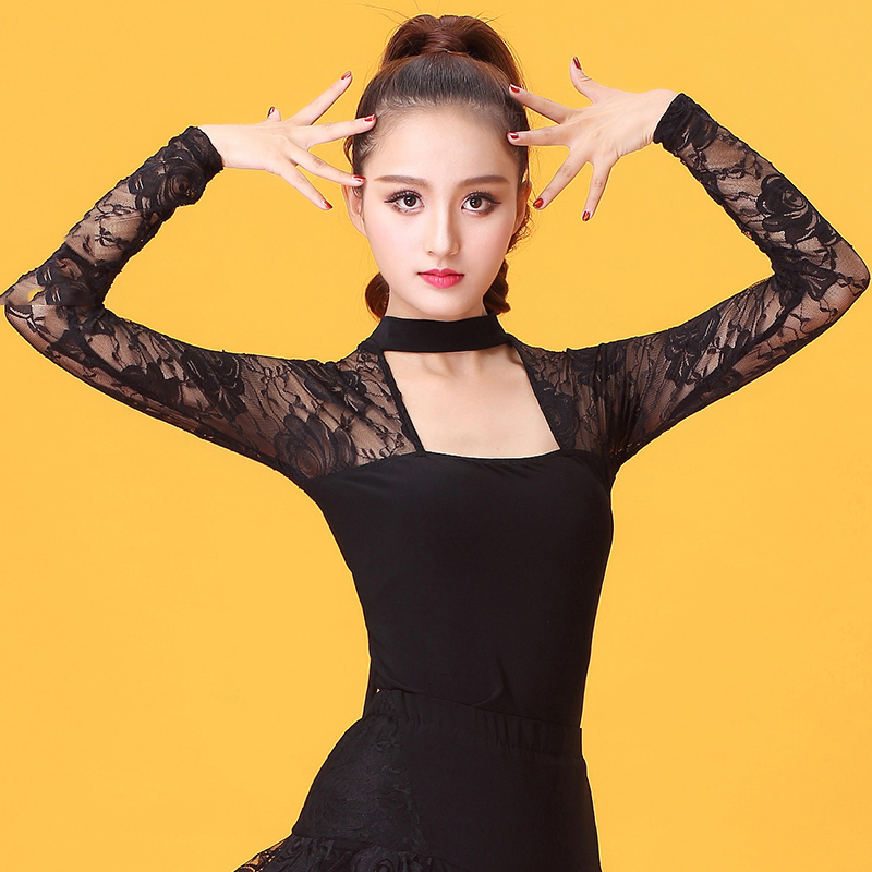 New Latin Dance Tops Women Practice Clothes Black Long Sleeve Lace Dress Latin Competition Dresses Tango/Rumba Clothing DQL1524