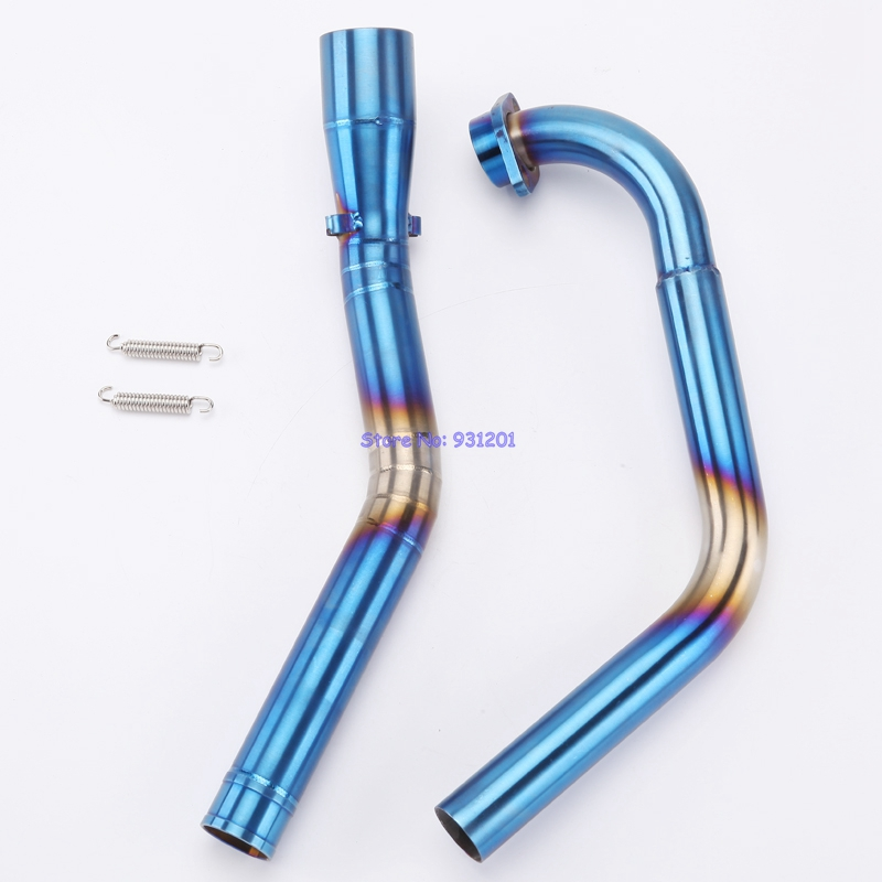 JHAUSTIM Motorcycle Exhaust Muffler Mid Link Pipe for Yamaha YZF R15 2008-2016 Blue Motorbike Connector Middle Pipe R15 motorcycle middle of the exhaust pipe muffler exhaust pipe exhaust muffler for yamaha yzf r15 yzf r15 08 09 10 11 12 13 14 15 16