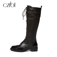 CZRBT Genuine Cow Leather Women Boots Women Cross Tied Belt Buckle Zipper Wedges Heel Knee High