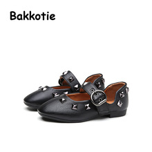 Bakkotie 2017 New Spring Fashion Retro Rivets PU Leather Children Casual Shoe Baby Girl Flat Kid Brand Breathable Shallow Green