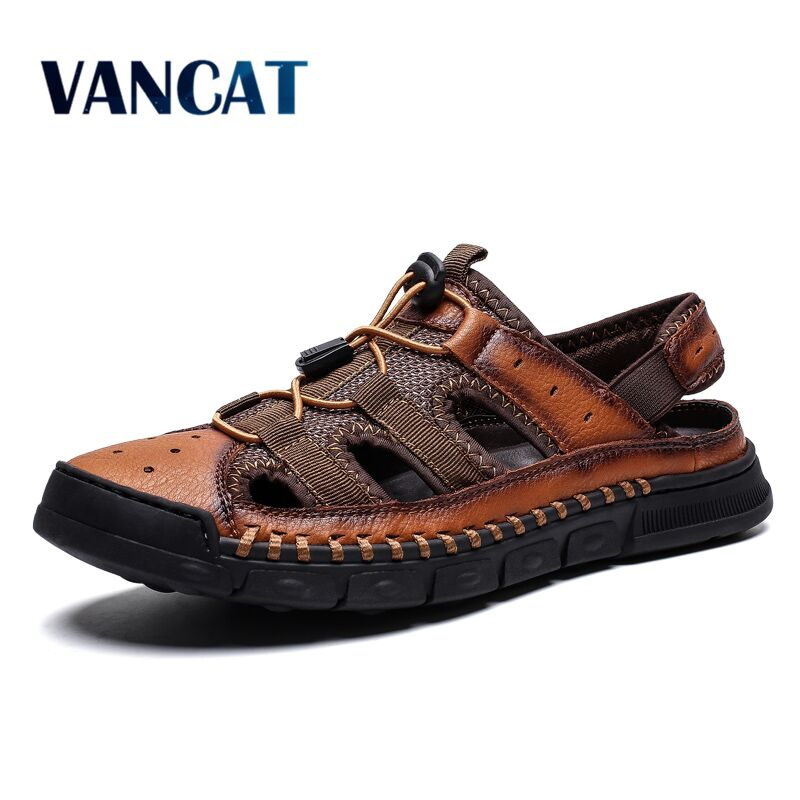 2019 New Comfortable Handmade Men Sandals Genuine Leather Soft Summer Men's Shoes Retro Sewing Casual Beach Shoes Big Size 38-46(China)